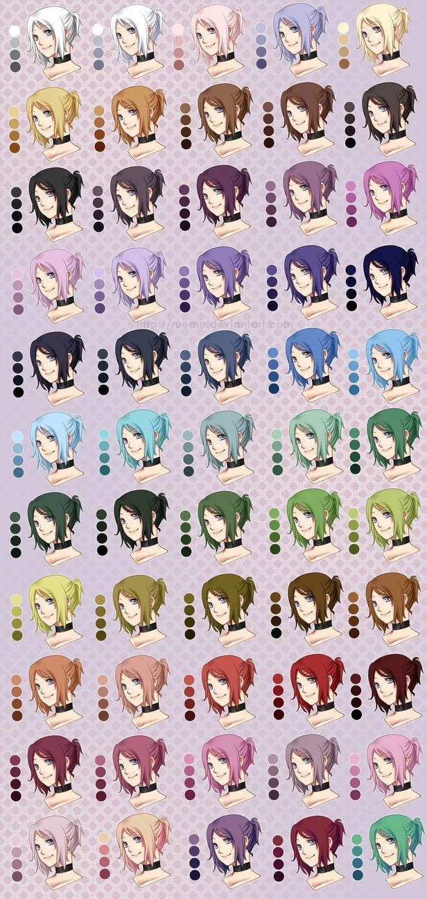 Anime hair color pallets