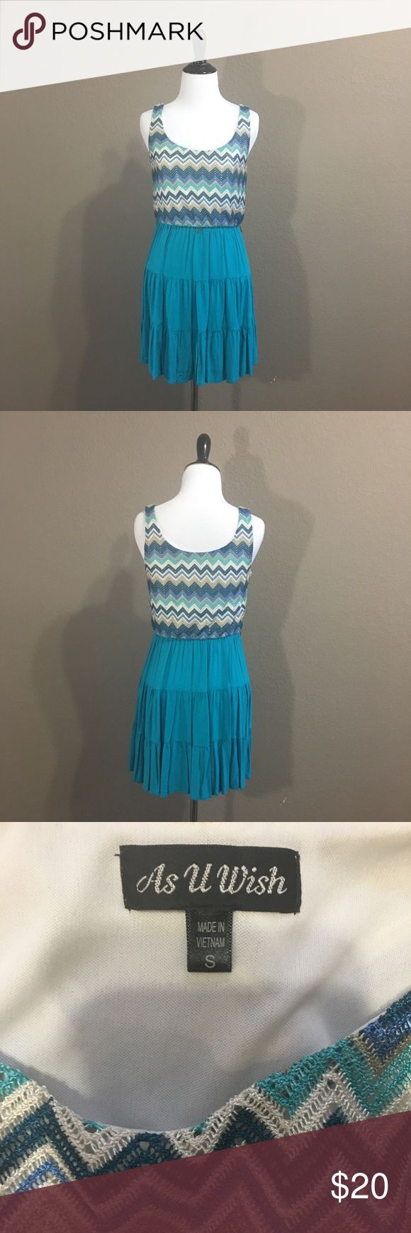 """Blue Chevron Dress No longer have the belt that goes with this dress. It's about 31"""" in length. As U Wish Dresses Mini"""