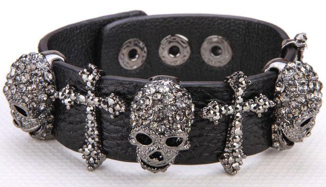 Черная кожа черепа крест браслет для женщин кристалл регулируемый браслет панк байкер хэллоуин ювелирные изделия LD03 оптовые dropshipping