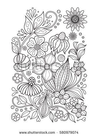 Doodle Floral Pattern In Black And White Page For Coloring Book Relaxing Job