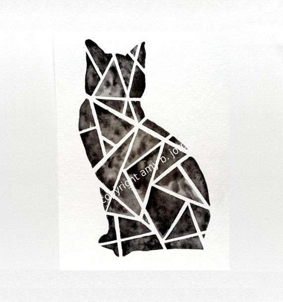 ▲▲▲▲▲▲▲▲▲▲▲▲▲▲▲▲▲▲▲▲    ▲ Original geometric black cat 5 wide x 7 tall watercolor painting. ▲ Great for cat lovers of all ages!    ▲ Color options for
