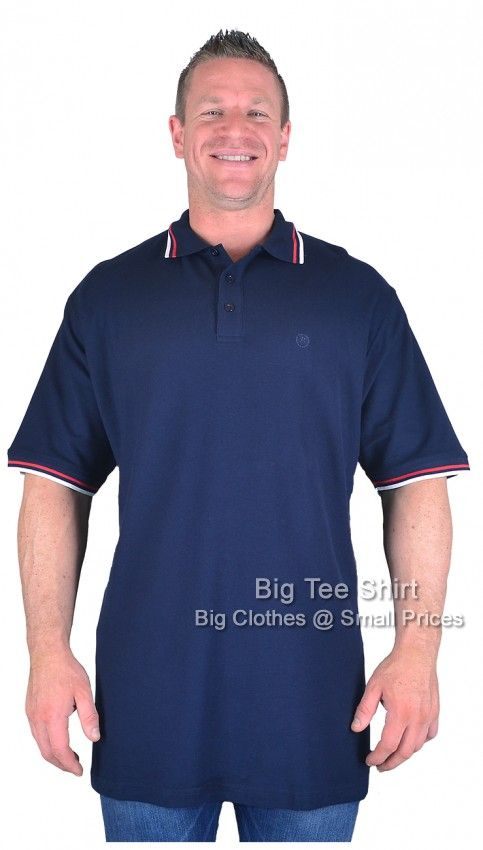 Navy Espionage Chermon Polo Shirt Sizes 2xl to 8xl | Big Tee Shirt  Introducing this classically styled big and tall man's polo shirt by Espionage. Produced in a crisp and sharp 100% cotton polo shirt pique fabric. Classic three button placket collar with contrast tipping on the collar and on the sleeve ends. Embroidered Espionage branding on the chest with side vents. This polo shirt is styled for the big man specifically. ONLY £18.99