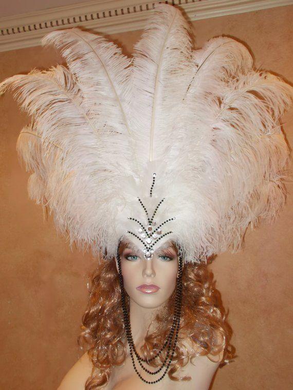Custom Pride Peacock Samba Showgirl Costume Jeweled Feather Headdress Headpiece