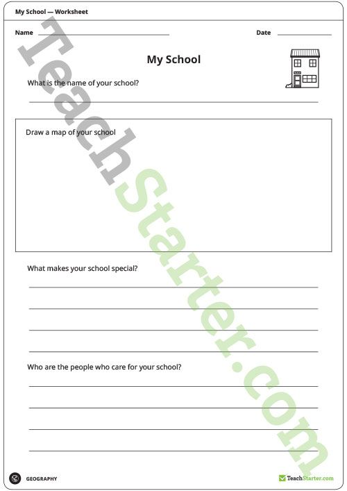 Teaching Resource: A worksheet that allows students to describe the special and important features of their school.
