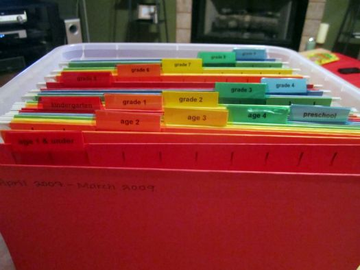 A way to organize kiddos art projects as they grow up! LOVE!