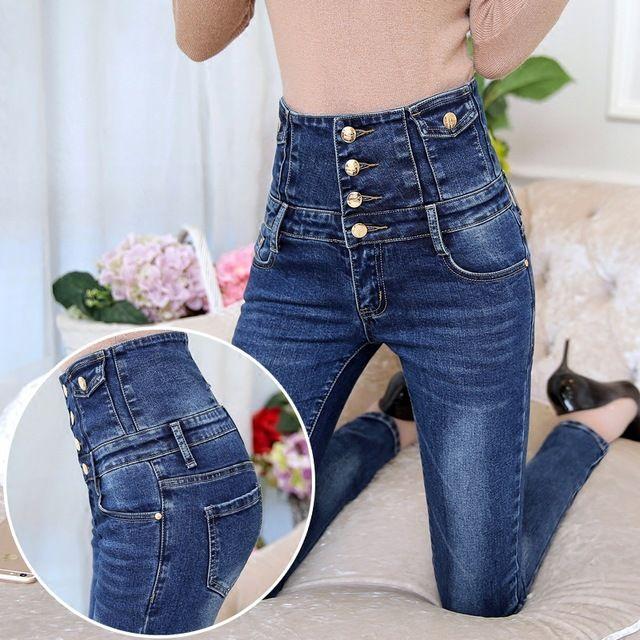 Frauen Hohe Taille Jeans Weibliche Denim-hosen Dünne Dünne Hosen Frühjahr Und Herbst Elastische Schwarz Bleistift Hose Plus Größe 26-34
