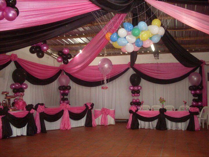 Decoracion globos y telas princess birthday cumple - Decoracion de globos ...