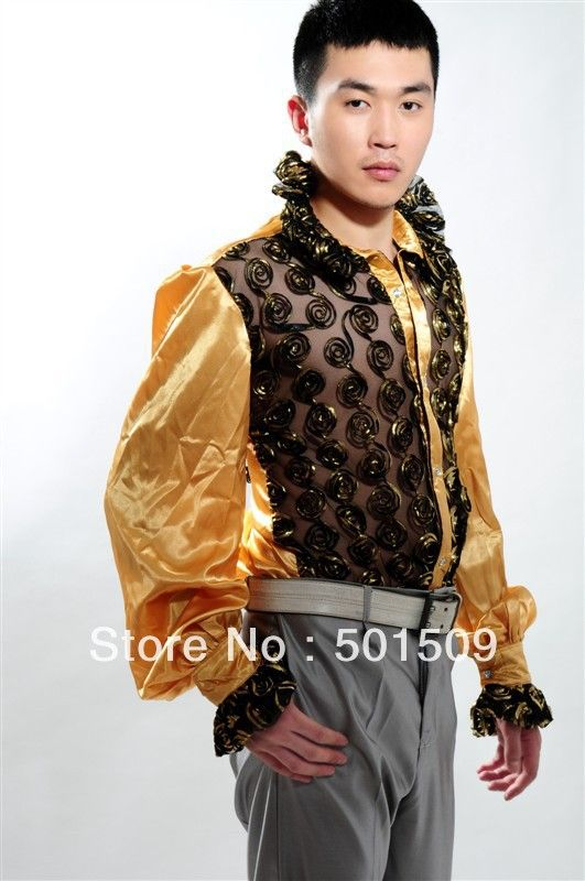 >> Click to Buy << Free shipping fan collar prince stage sequins decoration mens tuxedo shirts party/event shirts latin dance performance shirts #Affiliate