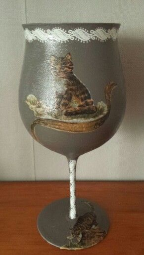 Voorkant glas servet met stikker bewerkt