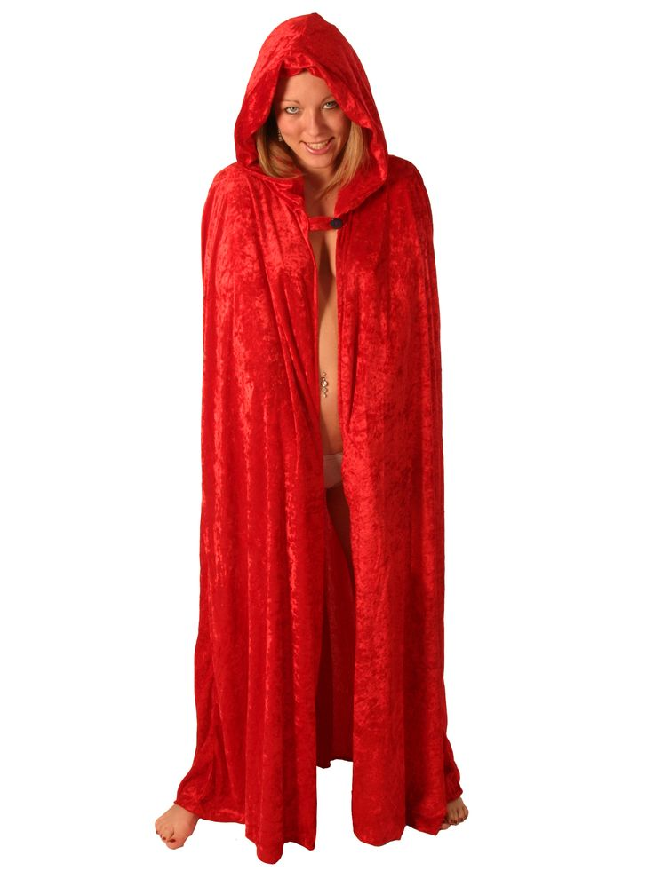 This luxurious red velvet cape ties neatly round the neck. You can put it with almost anything so don't go cold this Halloween. Available in black and 3/4 length.