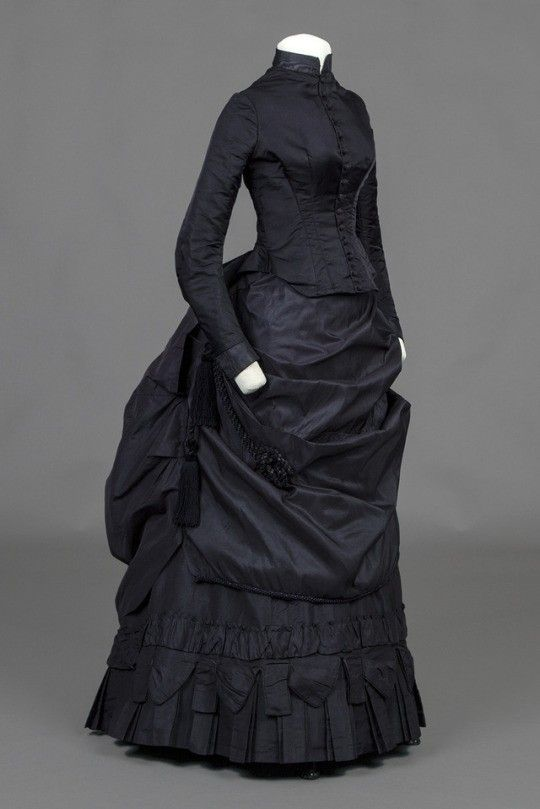 Bustle Dress, 1870-6 Dark Purple Satin Bustle Dress With Ruffles On Underskirt and Fringe On Over skirt. Very Large Size