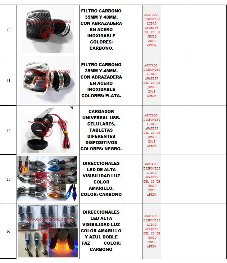 Filtros de aire Direccionales Led y Cargadores de dispositivos moviles para motocicleta