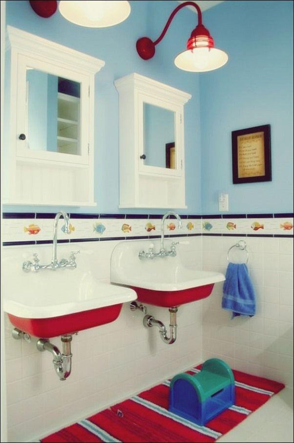 30 Verspielte Und Farbenfrohe Designvorschlage Fur Kinder Badezimmer Bad Deko Kinder Badezimmer Badezimmer Design Rote Badezimmer