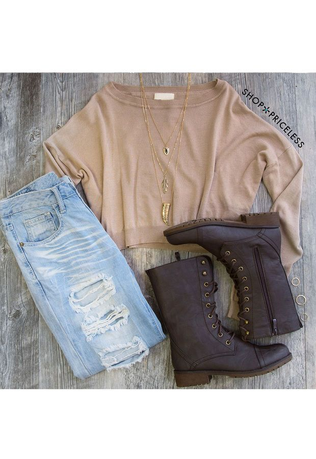 Breezy Days Long Sleeve Crop Sweater - Taupe