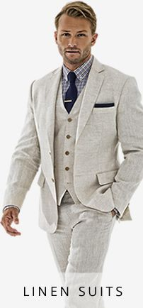 MAYBE A VEST (AND UNBUTTONED JACKET) HELP MINIMIZE THE FACT THAT SUIT ISN'T A WELL-TAILORED ONE.linen suit men - Google Search