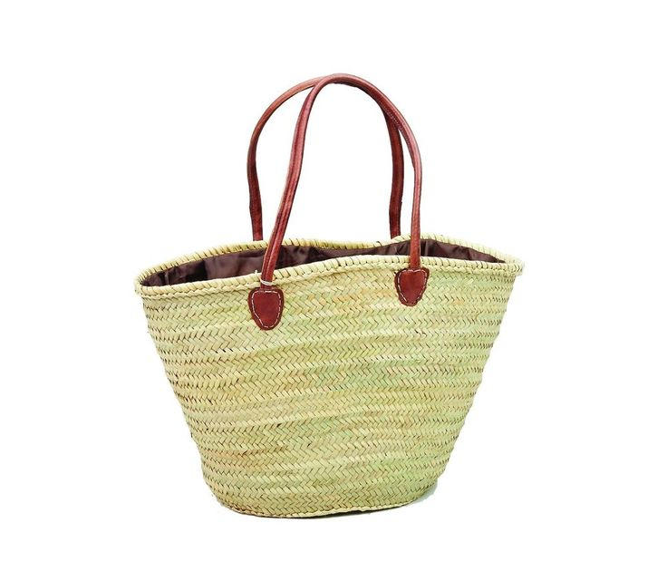 Moroccan Straw & Leather Shopping French Market Basket Bag Large Shoulder Tote #Handmade