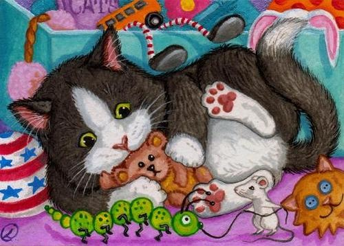 PLAYROOM TOY BOX Tuxedo Kitty Cat Mouse Mice Lynne Oliver Original PAINTING