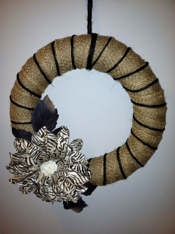 Burlap wrapped wreath with black twine and large by simpleandsass, $30.00