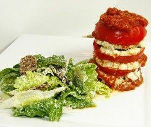 Raw Lasagna Towers with Cashew Ricotta and Sun-dried Tomato Marinara / This raw #lasagna is extremely flavorful, rich and creamy without the traditional dairy products, gluten & wheat. Serve with a raw ceasar salad for a healthy, filling dinner!