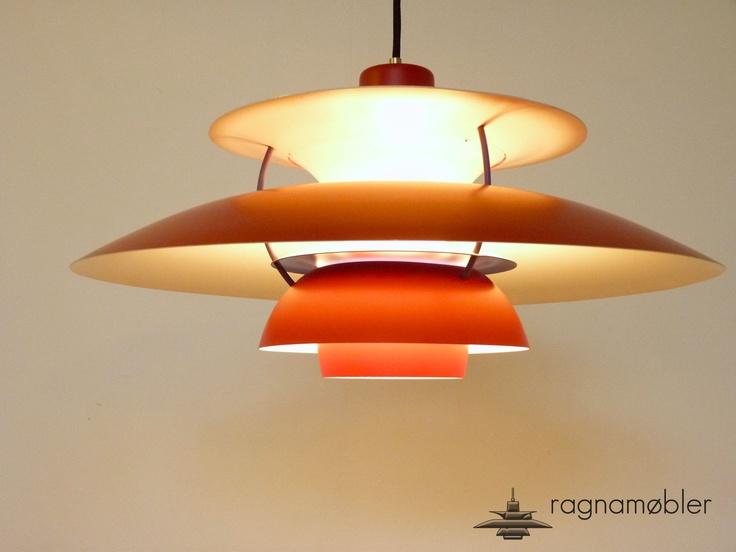 rare old red version of louis poulsen ph5 by poul henningsen vintage danish lights fog m rup. Black Bedroom Furniture Sets. Home Design Ideas