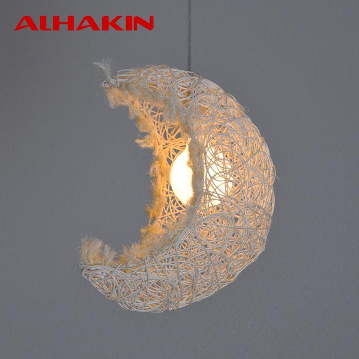 Goedkope Moderne Hout rijst wit nest/maan vormige hanger Lamp 110 V/220 V half ronde Hanglampen voor Restaurant/Koffie/Slaapkamer(China (Mainland))