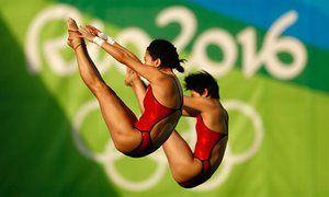 China gold: Ruolin Chen and Huixia Liu in the women's synchronised diving 10m platform final.