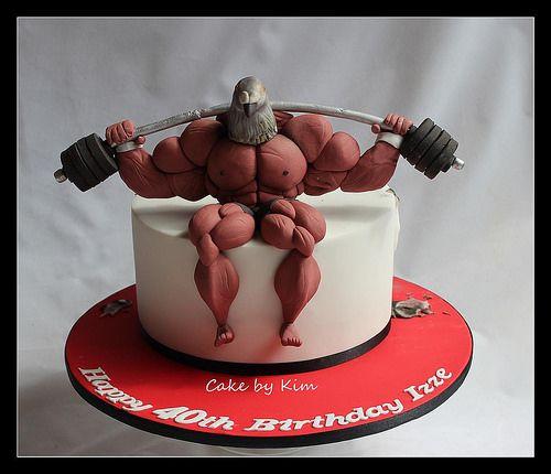Body Builder Pidgeon Head Por Cake By Kim Fondant