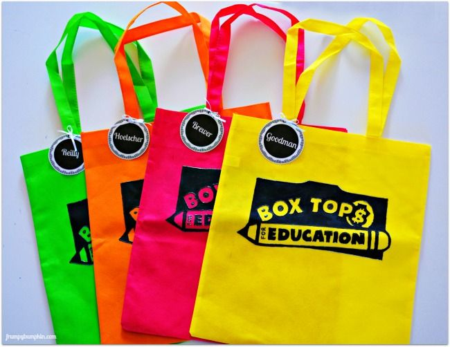 Box Tops for Education Collection Bags are simple to make for use in school collection drives.