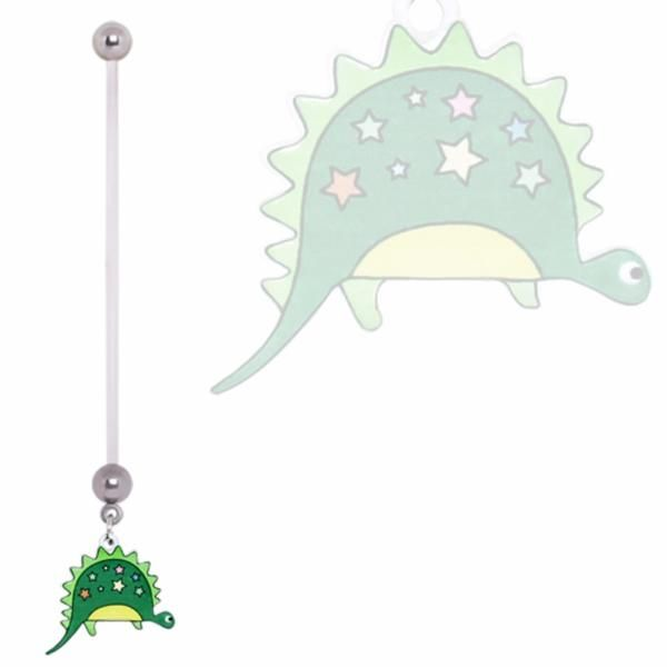 BioFlex Pregnancy Navel Ring with Green and Stars Dinosaur Dangle