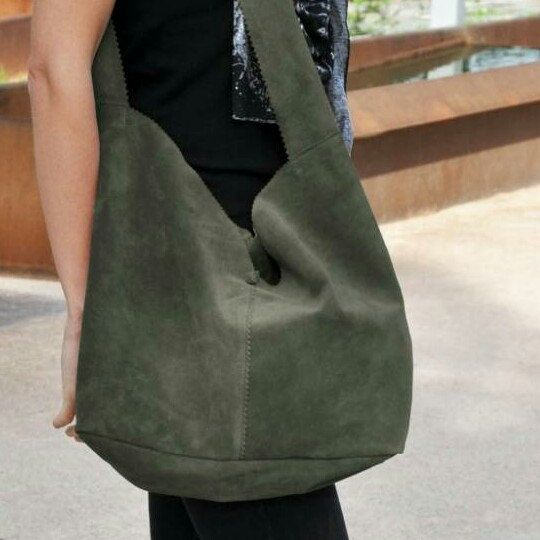 Stylish suede leather tote in green