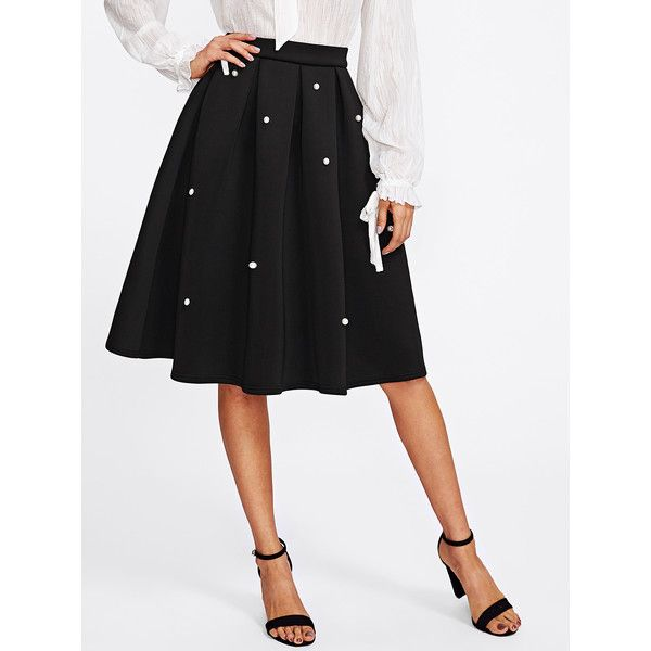 SheIn(sheinside) Pearl Embellished Boxed Pleated Circle Skirt (170 MAD) ❤ liked on Polyvore featuring skirts, flared pleated skirt, skater skirt, circle skirt, pleated circle skirt and knee length pleated skirt