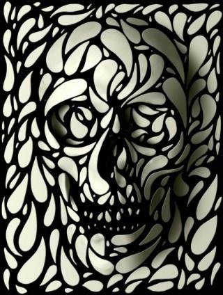 .Skullart, Skull Print, Inspiration, Ali Gulec, Aligulec, Black White, Skull Design, 3D Skull, Skull Art