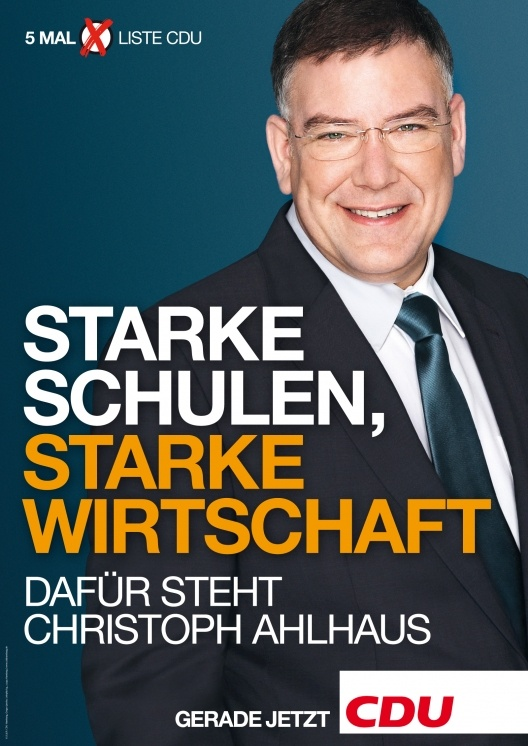 Cristoph Ahlhausm CDU. Elecciones Hamburgo, Alemania 2011.