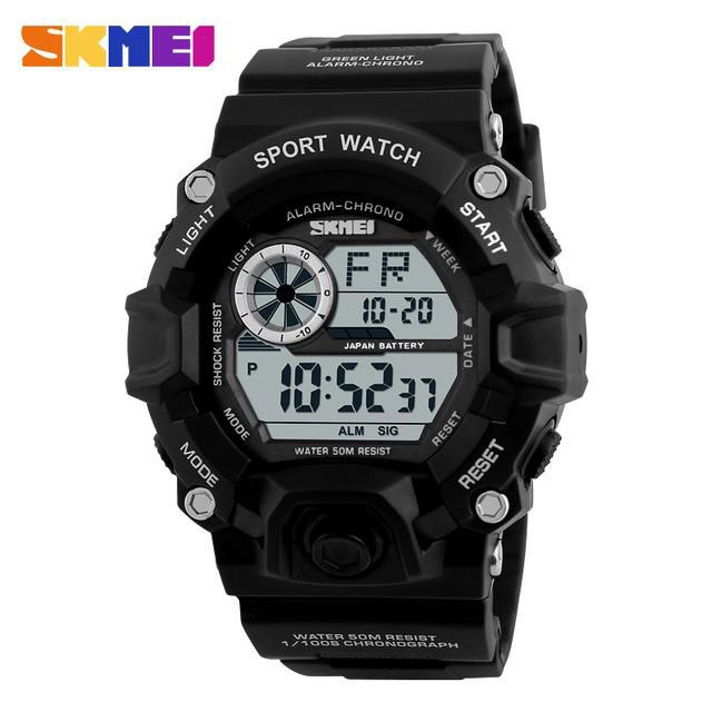 High hardness glass mirror, scratch and wear resistant.  Shock Resistant, suitable for both outdoor and indoor activities & sports, such as running, climbing, business etc, Get one! #sportswatch #watch #waterresistant https://crazysportwatch.com/collections/digital-watches/products/skmei-army-sport-watch