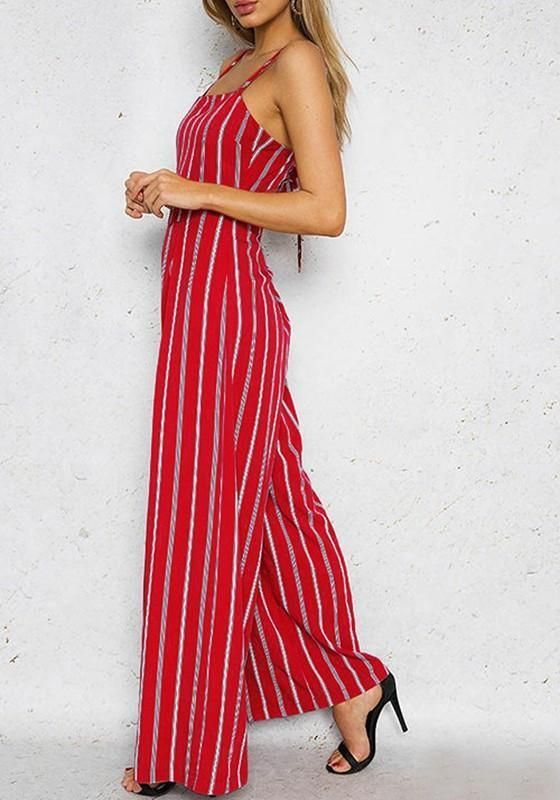 36dc9255a91 DaysCloth Red-White Striped Spaghetti Strap Backless Tie Back High Waisted  Wide Leg Long Jumpsuit