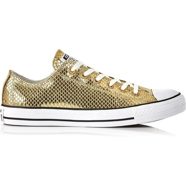Converse Chuck Taylor All Star Metallic Snake Leather Low Top Trainers  ($78) ❤ liked