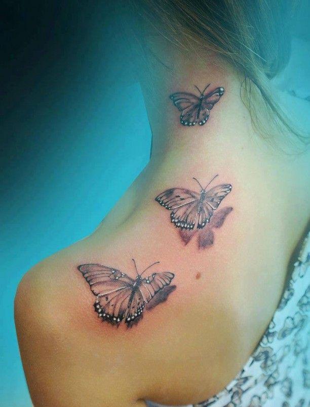 3D Schmetterlinge Schulter Hals Tattoo | Schmetterling