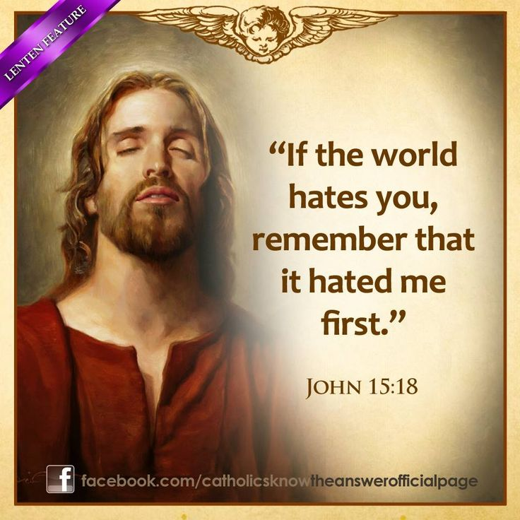 If the world hates you, remember that it hated me first.John 15:18