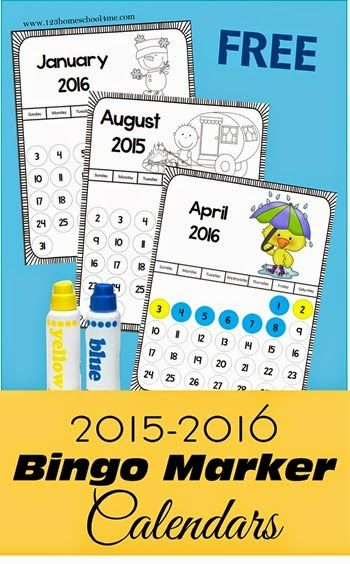 FREE Bingo Marker Calendars for 2015-16