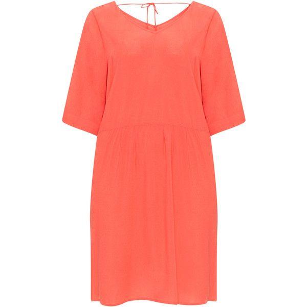 Zizzi Coral-Orange Plus Size V-neck short dress ($26) ❤ liked on Polyvore featuring dresses, plus size, plus size coral dress, plus size high low dresses, short red dress, women plus size dresses and plus size orange dress