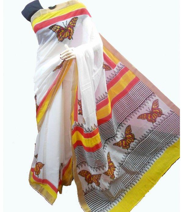 Multicolor Handpainted Kerala Cotton Saree