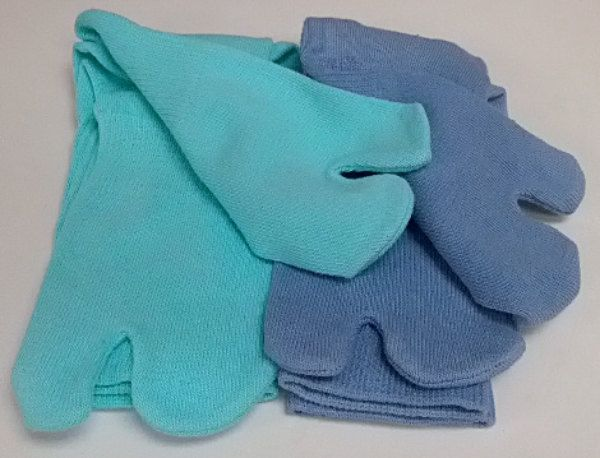 Turquoise and Blue Hand-Dyed Tall Tabi Socks Set by tabilady on Etsy