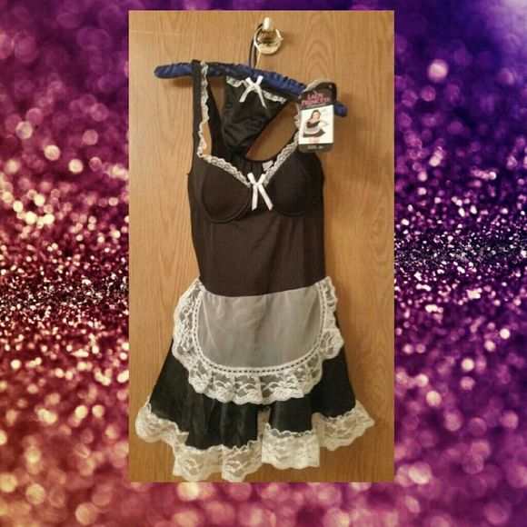 **** FRENCH MAID LINGERIE **** Ooh-la-la!!! Sure way to grab your hubby's attention! New with tags, this French Maid costume lingerie is a size medium. A cute little apron & sexy g-string thong. Grab up this hot little number & start your house cleaning in the bedroom. ;) Intimates & Sleepwear