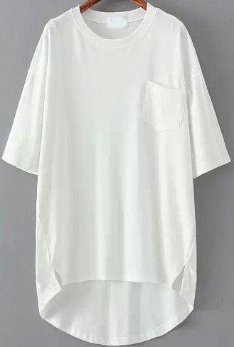 Shop White Pocket Split Dip Hem T-Shirt online. SheIn offers White Pocket Split Dip Hem T-Shirt & more to fit your fashionable needs.