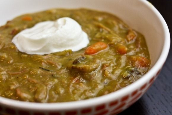 split pea and ham soup in a crock pot  Leave out or replace ham with vegan alternative.