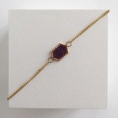 Bracelet tissage miyuki violet/doré