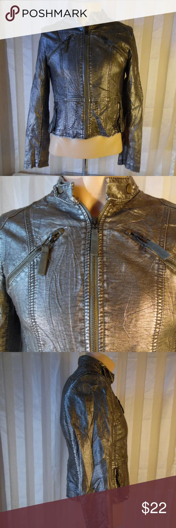 """Forever 21 Metallic Silver Zip Up Leather Jacket L Pre owned, light wear..EUC.. Brand Name:Forever 21 Gender: Women's Sleeve Length: 24""""  Main color: Silver  Material:100% Polyurethane leather Width arm pit to arm pit:17"""" Length back of collar to bottom hem:20""""Condition: Width: 17.5""""Grade: 9.5/10 Forever 21 Jackets & Coats Utility Jackets"""