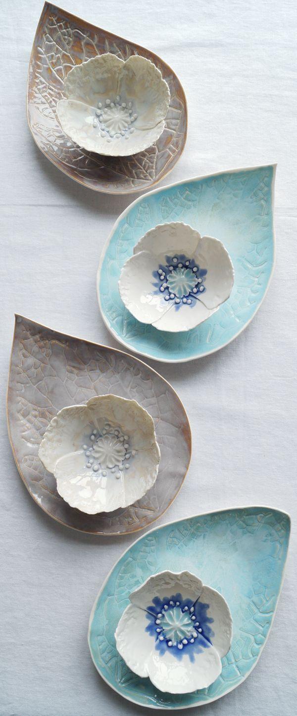 Porzellan Mohnschale und Blattplatte Sets von Vani…