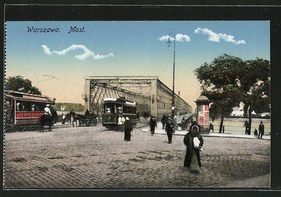 tolle AK Warszawa / Warschau, Strassenbahn auf einer Brücke