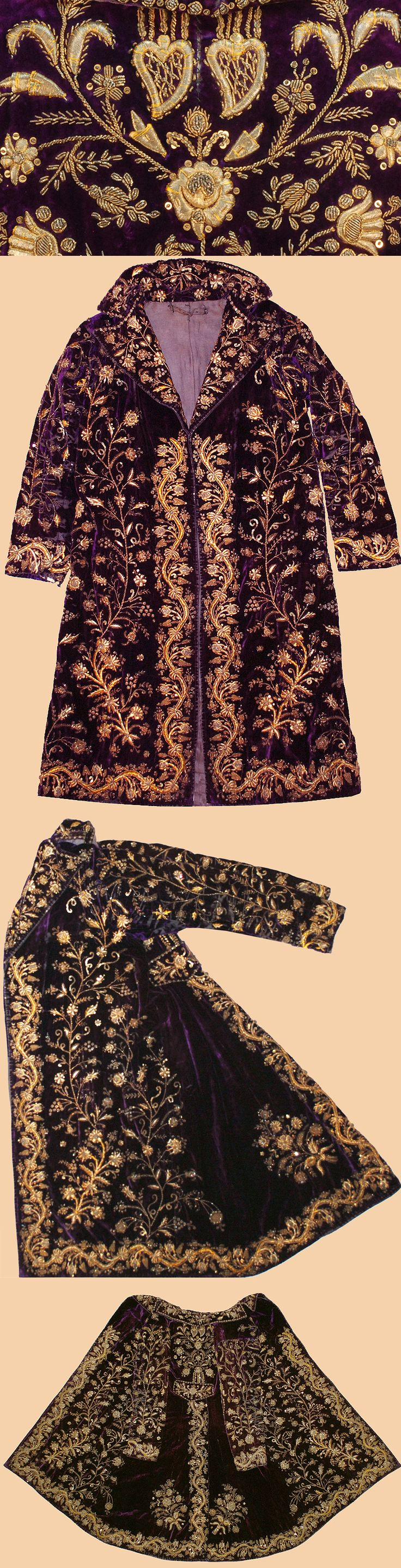 Antique Turkish Textile. A Man's Jacket worn at Court. The dark red silk velvet is embroidered with gold thread strip and sequins in dival work and in stem stitch. The pattern is 'Shah's pleasure'.